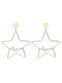 Metal Star Shape Drop Earrings - Gold