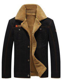 Fluffy Lined Stitch Jacket - Black M