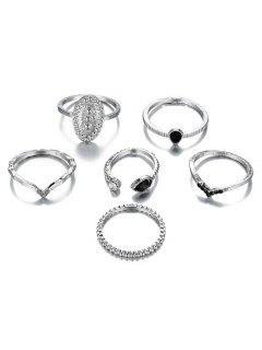 6Pcs V Shape Rhinestoned Metal Rings Set - Silver