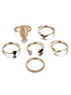 6Pcs V Shape Rhinestoned Metal Rings Set - Gold