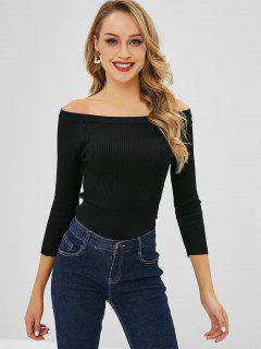 Slim Ribbed Off The Shoulder Sweater - Black