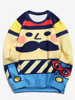 Cartoon Man Print Funny Sweatshirt - Multi-a S
