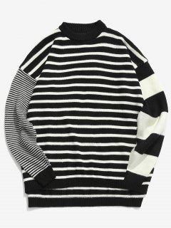Contrast Striped Loose Knit Sweater - Black Xl