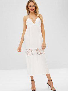 Vestido De Playa Con Aplicación De Encaje Y Espalda Descubierta Sin Espalda - Blanco L