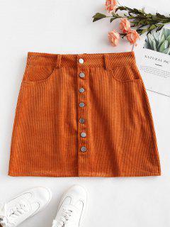 Corduroy Button Up Skirt - Light Brown S