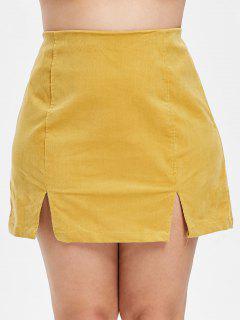 ZAFUL Plus Size Slit Corduroy Zip Skirt - Bee Yellow 2x