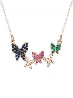 Rhinestoned Multiple Butterfly Pendant Necklace - Rose Gold