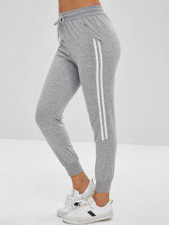 Drawstring Contrast Trim Jogger Pants - Gray Goose Xl