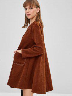 Robe Tunique Texturée Avec Poche - Châtaigne
