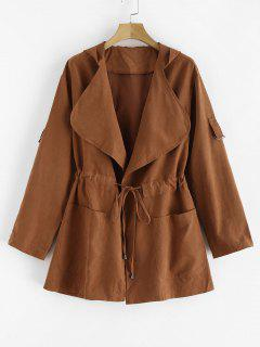 Skirted Open Front Hooded Coat - Light Brown M
