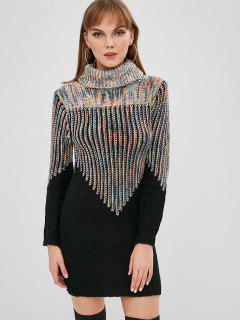 Mini Vestido De Suéter Con Cuello Alto De Hilo Mixto - Multicolor-a