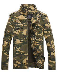 Appliques Zipper Camouflage Jacket - Kaki Clair L