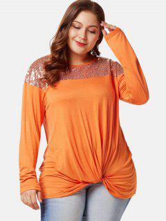 Camiseta Con Lentejuelas Twist Más Tamaño Delantero - Naranja Oscuro 3x