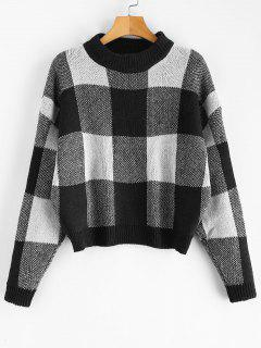 Plaid Jacquard Knit Sweater - Black
