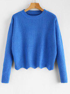Zig Zag Hem Crop Knitwear - Blue