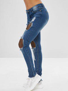 Panel De Malla De Jeans Ajustados Desgastados - Azul De Jeans  2xl