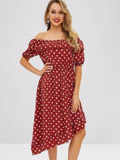 ZAFUL Flounce Polka Dot Asymmetric Dress - Red Wine M