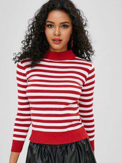 Two Tone Mock Neck Striped Sweater - Multi-a