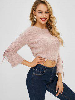 Lace Up Flare Sleeve Crop Sweater - Sakura Pink
