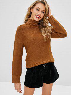 Casual Drop Shoulder Turtleneck Sweater - Brown