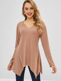 Asymmetric Tunic Knitted Sweater - Tan L