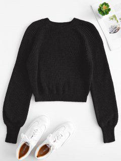 Raglan Sleeves Crop Sweater - Black M