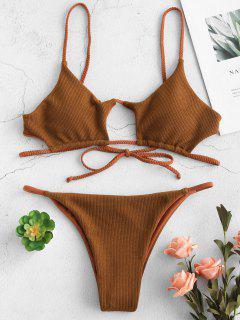 ZAFUL Ensemble Bikini Découpé Tressé Côtelé - Orange Tigre M