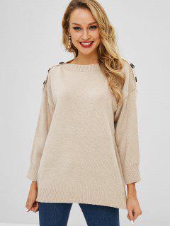 Buttoned Pullover Slash Neck Sweater - Light Khaki 2xl