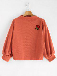 ZAFUL Sweat-shirt Rose Brodée à Manches Lanternes - Orange Papaye