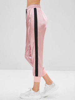 Pantalones Basculador De Satén Color Block - Multicolor-a L