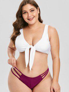 ZAFUL Plus Size Gitter-Farbblock-Bikini-Set - Pflaume Samt 2x