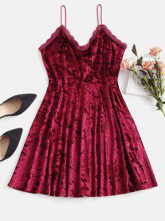 ZAFUL Crochet Panel Scalloped Velvet Dress - Red Wine L