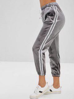 Drawstring Waist Velvet Jogger Pants - Gray L