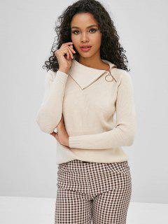 Raglan Sleeve Zip Grommet Sweater - Light Khaki