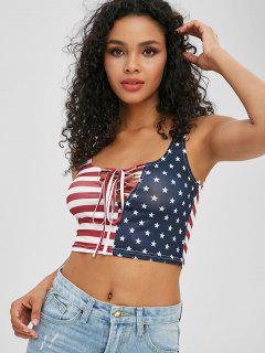 Patriotic American Flag Lace Up Tank Top - Multi-a L