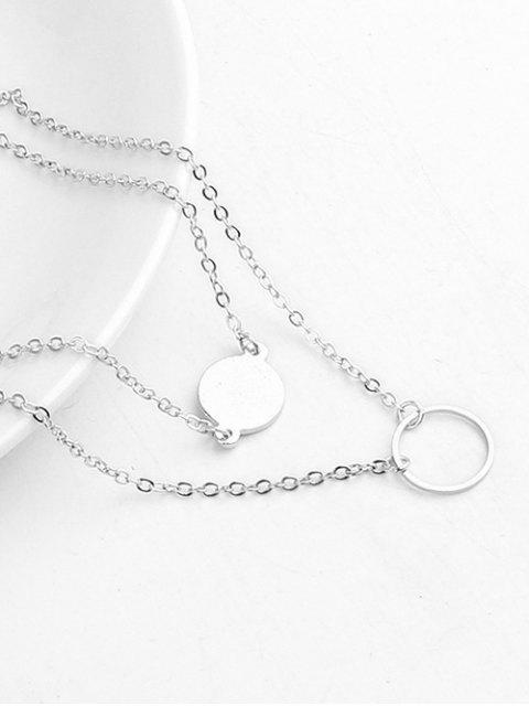 new Layered Design Circle Shape Pendant Necklace - SILVER  Mobile