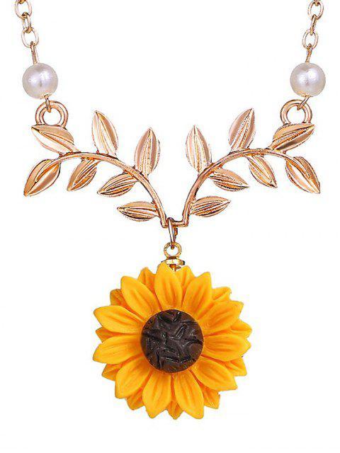 Принт подсолнечника и ветки Ожерелье - Золотой  Mobile