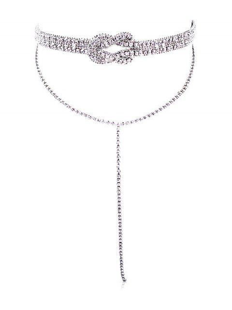 shop Layered Fully Jewelled Bowknot Design Long Necklace - SILVER  Mobile
