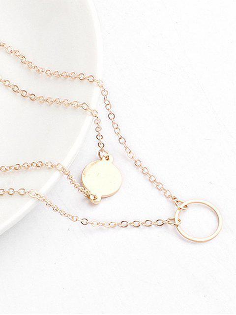 fancy Layered Design Circle Shape Pendant Necklace - GOLD  Mobile
