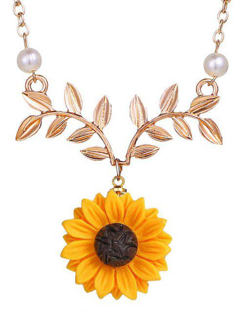 affordable Sunflower and Branch Pattern Clavicle Necklace - ROSE GOLD  Mobile