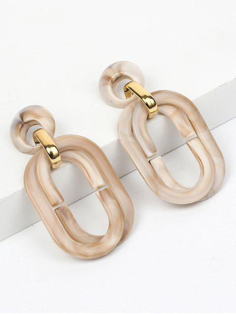 ladies Acrylic Geometric Round Hollow Earrings - BEIGE  Mobile