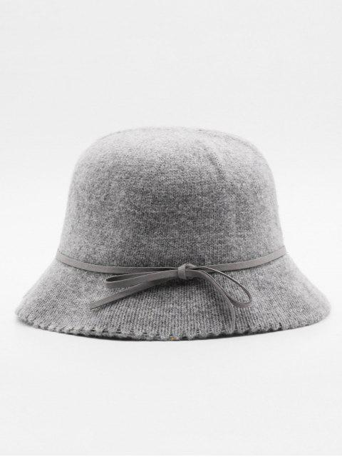 sale Vintage Bowknot Solid Color Holiday Hat - GRAY  Mobile