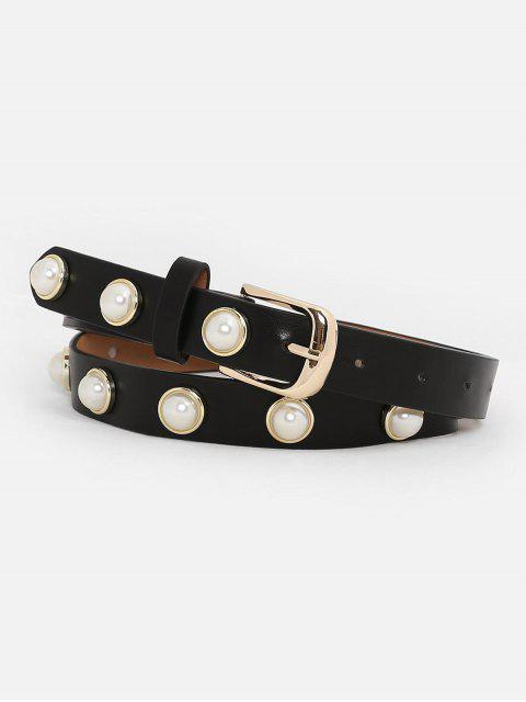 fancy Metal Buckle Faux Pearl Skinny Belt - BLACK  Mobile
