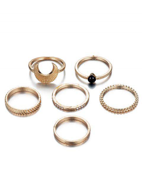 womens 6Pcs Rhinestoned Vintage Design Metal Rings Set - GOLD  Mobile
