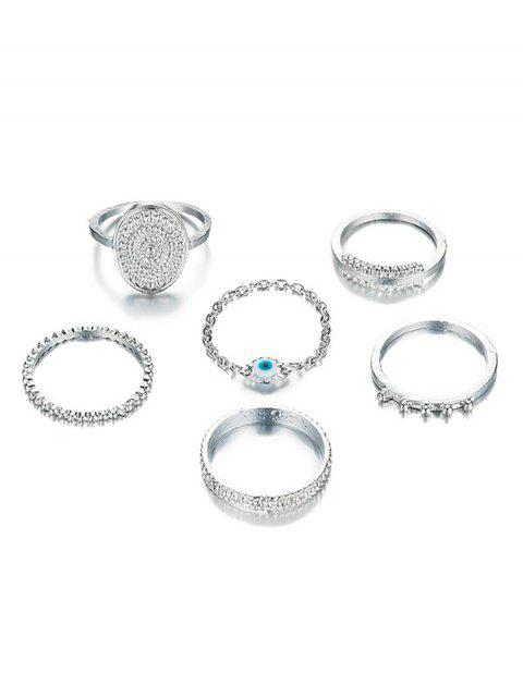 lady 6Pcs Ethnic Style Alloy Rings Set - SILVER  Mobile