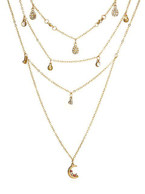 fancy Layered Water Drop Pattern Rhinestoned Necklace - GOLD  Mobile