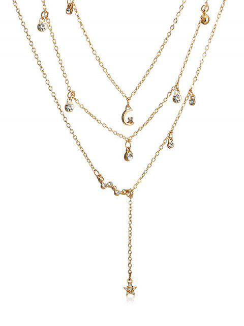 best Multilayer Rhinestoned Moon and Star Drop Necklace - GOLD  Mobile