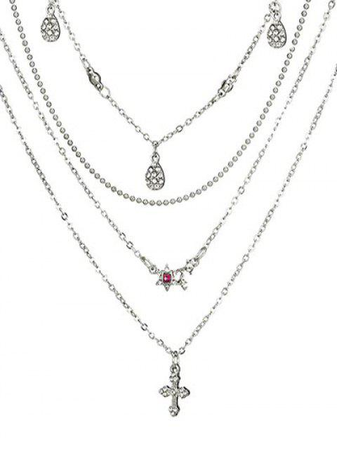 new Layered Flower Pattern Rhinestone Necklace - SILVER  Mobile