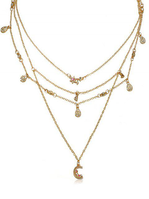 outfits Statement Multilayer Rhinestoned Moon Drop Necklace - GOLD  Mobile