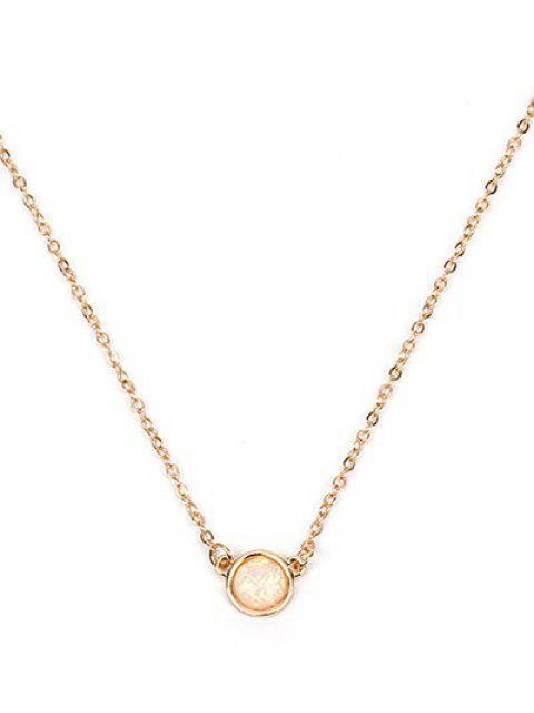 shops Circle Shape Rhinestoned Pendant Necklace - GOLD  Mobile